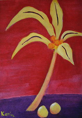 Poster featuring the greeting card Yellow Palm by Karin Eisermann