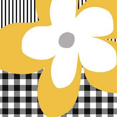 Yellow Picnic Flower- Art By Linda Woods Poster