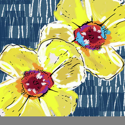 Yellow Poppies 2- Art By Linda Woods Poster by Linda Woods