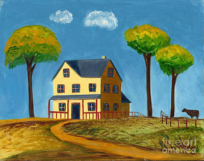 Poster featuring the painting Yellow Prairie House by Gail Finn