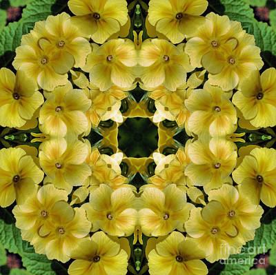 Poster featuring the digital art Yellow Primrose Kaleidoscope by Smilin Eyes  Treasures