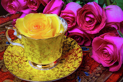 Yellow Rose In Tea Cup Poster