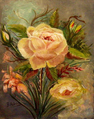 Yellow Roses Poster by Bobbie Roberts