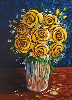 Poster featuring the painting Yellow Roses by Katherine Young-Beck