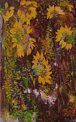 Poster featuring the painting Yellow Sunflowers by Sima Amid Wewetzer