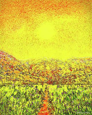 Poster featuring the digital art Yellow Sunlit Path - Marin California by Joel Bruce Wallach