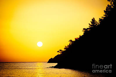 Yellow Sunrise Seascape And Sun Artmif  Poster