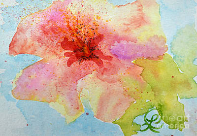 Yellow Tinged Hibiscus Poster by Lynda Cookson
