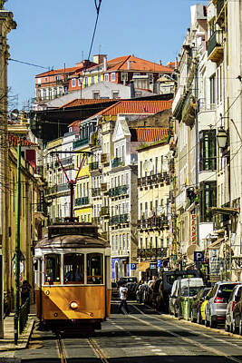 Yellow Tram In Downtown Lisbon, Portugal Poster