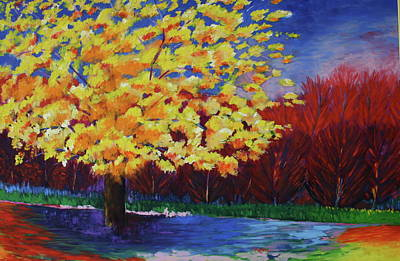 Poster featuring the painting Yellow Tree by Karin Eisermann