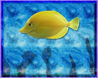 Yellow Tropical Fish Poster by Terry Weaver