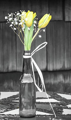 Poster featuring the photograph Yellow Tulips In Glass Bottle by Terry DeLuco