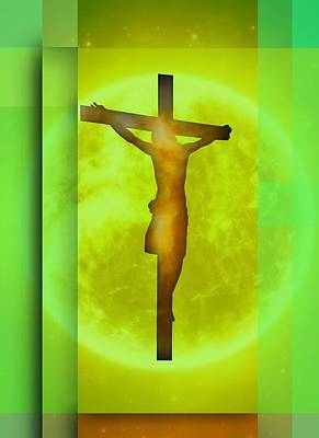 Yellowish Environment Crucifixion. Poster
