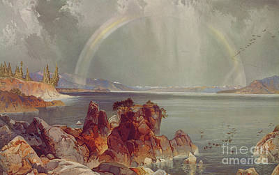 Yellowstone Lake Poster by Louis Prang