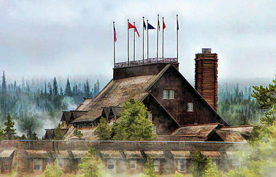 Poster featuring the painting Yellowstone National Park Old Faithful Inn by Christopher Arndt