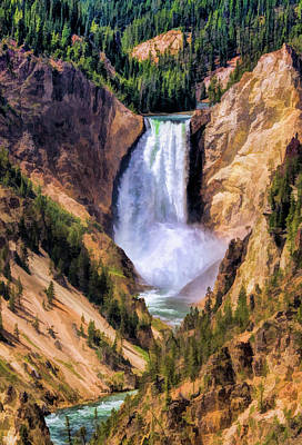 Poster featuring the painting Yellowstone National Park Upper Falls by Christopher Arndt