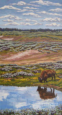 Poster featuring the painting Yellowstone Reflections by Erin Fickert-Rowland
