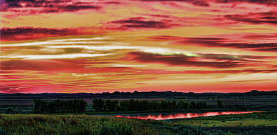 Yellowstone River Wildfire Sunset Poster
