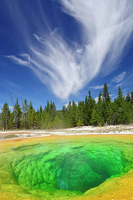 Poster featuring the photograph Yellowstone's Morning Glory Pool Pool And Awesome Clouds by Bruce Gourley