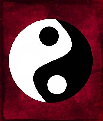 Yin And Yang - Dark Red Poster
