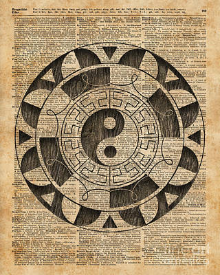 Yin And Yang Symbol Taijitu Mandala Vintage Dictionary Art Poster by Jacob Kuch
