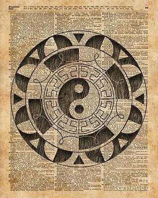Yin And Yang Symbol Taijitu Mandala Vintage Dictionary Art Poster by Jacob Kuch