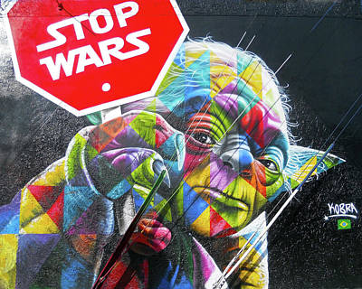 Yoda - Stop Wars Poster by Juergen Weiss