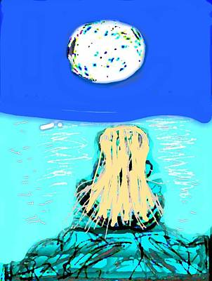 Yoga By The Sea Under The Moon Poster