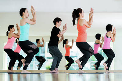 Yoga Group In Class Room In Fitness Center Poster