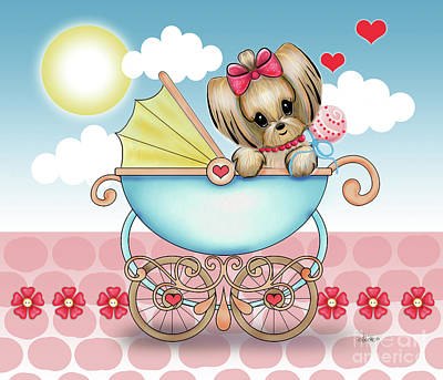 Poster featuring the painting Yorkie Baby Strolling  by Catia Lee