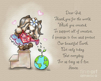 Poster featuring the painting Yorkie Earth Day Prayer by Catia Lee