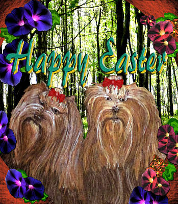 Poster featuring the digital art Yorkie Easter by Michelle Audas