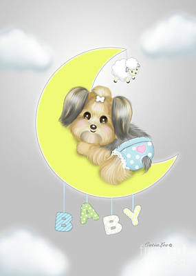 Poster featuring the painting Yorkie Fofa Baby by Catia Lee