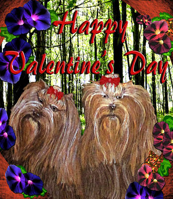 Poster featuring the digital art Yorkie Valentine Card by Michelle Audas