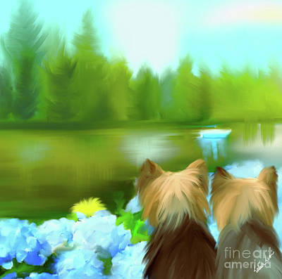 Poster featuring the painting Yorkies At The Lago Negro by Catia Lee