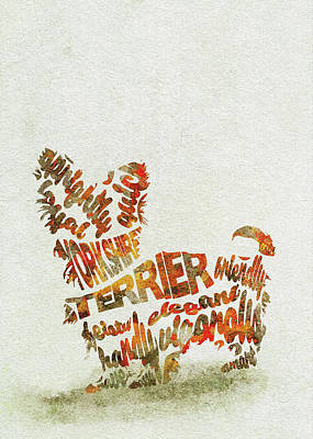 Yorkshire Terrier Watercolor Painting / Typographic Art Poster