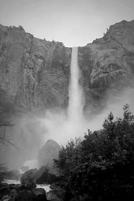 Bridalveil Falls Yosemite Black And White Poster