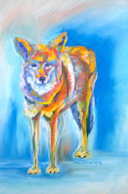 Poster featuring the pastel Yosemite Coyote by Pat Crowther