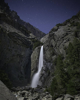 Yosemite Falls At Night Poster