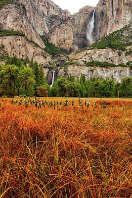 Yosemite Falls Autumn Colors Poster