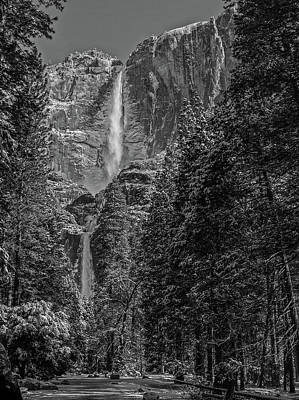 Yosemite Falls In Black And White IIi Poster by Bill Gallagher