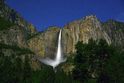 Yosemite Falls Under Star Light Poster by Raymond Salani III