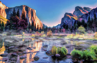 Poster featuring the painting Yosemite National Park Valley by Christopher Arndt
