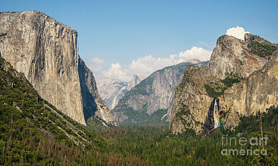 Yosemite Tunnel View With Bridalveil Rainbow By Michael Tidwell Poster