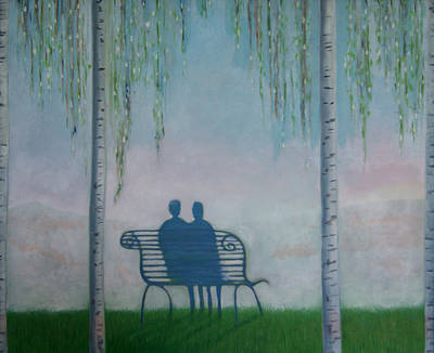Poster featuring the painting You And I On The Bench by Tone Aanderaa