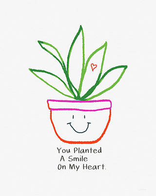 Poster featuring the mixed media You Planted A Smile- Art By Linda Woods by Linda Woods