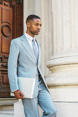 Young African American Businessman Working In New York Poster