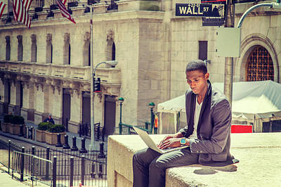 Young African American Man Working On Wall Street In New York Poster