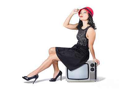 Young Asian Woman Sitting On 70s Tv Set Poster by Jorgo Photography - Wall Art Gallery