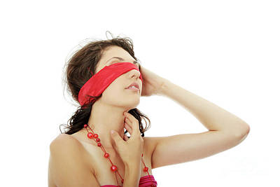 Young Beautiful Brunette With Red Eyeband And Necklace. Poster